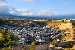 Old Junk Cars On Junkyard. Scrap Yard With Pile Of Crushed Cars in tenerife canary islands spain Royalty Free Stock Photos