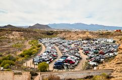 Old Junk Cars On Junkyard. Scrap Yard With Pile Of Crushed Cars in tenerife canary islands spain Stock Photo