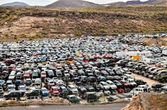 Old Junk Cars On Junkyard. Scrap Yard With Pile Of Crushed Cars in tenerife canary islands spain Royalty Free Stock Image