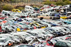 Old Junk Cars On Junkyard. Scrap Yard With Pile Of Crushed Cars in tenerife canary islands spain Stock Images