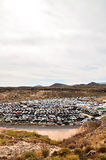 Old Junk Cars On Junkyard. Scrap Yard With Pile Of Crushed Cars in tenerife canary islands spain Royalty Free Stock Images