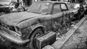 An old junk parked on the streets Royalty Free Stock Photo