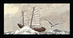 Old junk on a rough sea stock illustration