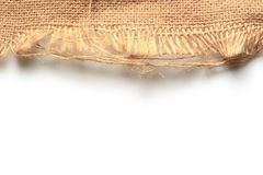 Old jute burlap sack. White background for text and picture. Old jute burlap sack with white background for text and picture royalty free stock photography