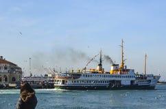 Old Kadıkoy Ferry Pier and İstanbul Ferry Royalty Free Stock Image