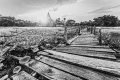 Old kaedum wooden bridge black and white. In thailand Royalty Free Stock Photo