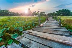 Old kaedum wooden bridge. In thailand Stock Images
