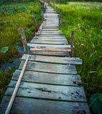 Old kaedum wooden bridge. In thailand Royalty Free Stock Photo