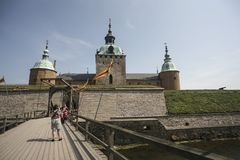 Kalmar castle with wind farm royalty free stock images