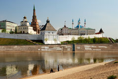 Old Kazan kremlin (Russia). With Koul-Sharif mosque and falling tower Suumbike royalty free stock images