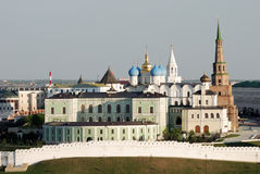 Old Kazan kremlin (Russia). With falling tower Suumbike stock photos
