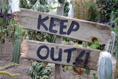An old Keep Out Signpost. Beside Cactus Plants in rural area outdoors royalty free stock image