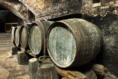 Old Keg Barrels in Row in Old Wine Cellar Royalty Free Stock Photos