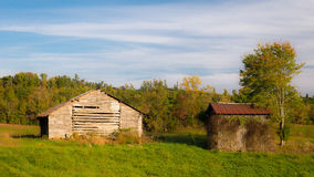 Old Kentucky Barn. Looking at an old barn and shed in the beginning of fall in southern Kentucky stock images