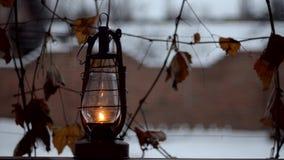 Old kerosene lamp outdoor stock footage