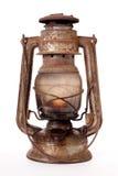Old kerosene lantern. Burning with bright flame Stock Photo