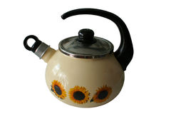 Old kettle with clipping path. Old kettle isolated on white background with clipping path Stock Photos