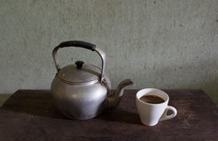 Old kettle and coffee Stock Images