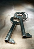 Old key. Two old key on the background of dirty cloth Royalty Free Stock Photo