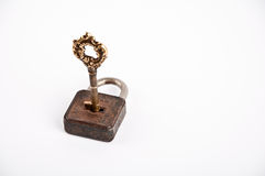 Old key. Picture of old key in rust padlock Royalty Free Stock Photo