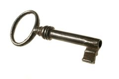 Old key. On white background Stock Image
