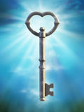 Old key. Old style key over a blue background. Digital illustration Stock Photo