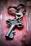 Old key. With heart keyholder, selective focus Royalty Free Stock Photography