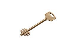 Old key. Yellow, old key on white background, isolated Stock Photography