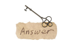 Old key and answer word Royalty Free Stock Photo