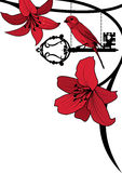 Old key, bird and lily. Vector background with old key, bird and lily in black and red Royalty Free Stock Images