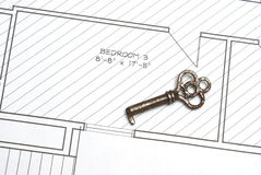 Old Key and Blueprints Royalty Free Stock Image