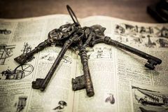Old key. In the book royalty free stock image