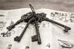 Old key. In the book royalty free stock images