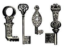 Old key collection. Vintage illustration Stock Images