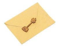 Old key on the envelope Royalty Free Stock Image