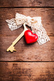 Old key and heart Royalty Free Stock Photo
