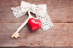 Old key and heart Royalty Free Stock Image