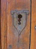 Old Key Hole. Dark Wood Door and Key hole Stock Photo
