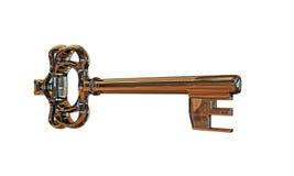 Old key. Isolated on white background Stock Photos