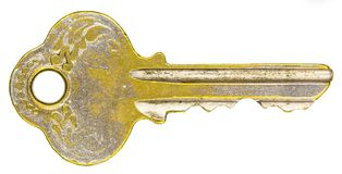 Old key isolated on white background without shadow. stock photo