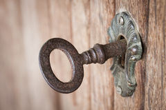 Old key in a keyhole Royalty Free Stock Images