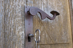 Old key in keyhole Stock Photography