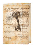 Old key on letter Stock Photography
