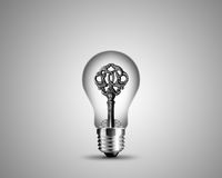 Old key in light bulb Stock Photography