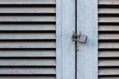 Old Key Lock on Close Wood Door Royalty Free Stock Image