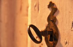 Old key in a lock Royalty Free Stock Photography