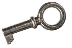Old key from lock, isolated on white background Stock Photos