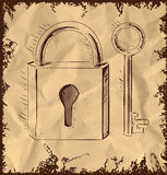 Old key and lock on vintage background Royalty Free Stock Photos