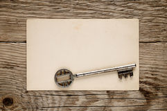 Old key and postcard Royalty Free Stock Image