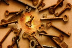 Old key selection Stock Photography